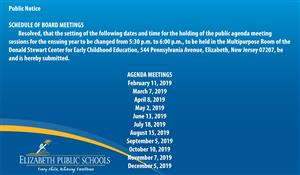 Public Notice - Change in time for Agenda Meetings
