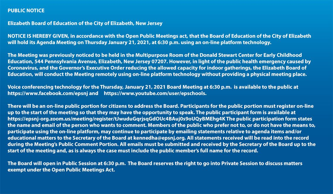 Board of Education Agenda Meeting
