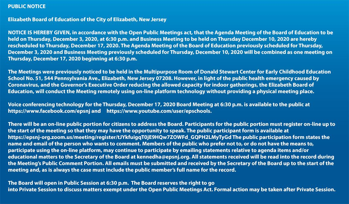 Public Notice - Board of Education Agenda/Buisness Meeting December 17th