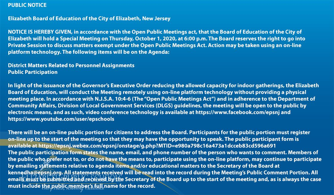 Special Board of Education Meeting October 1st