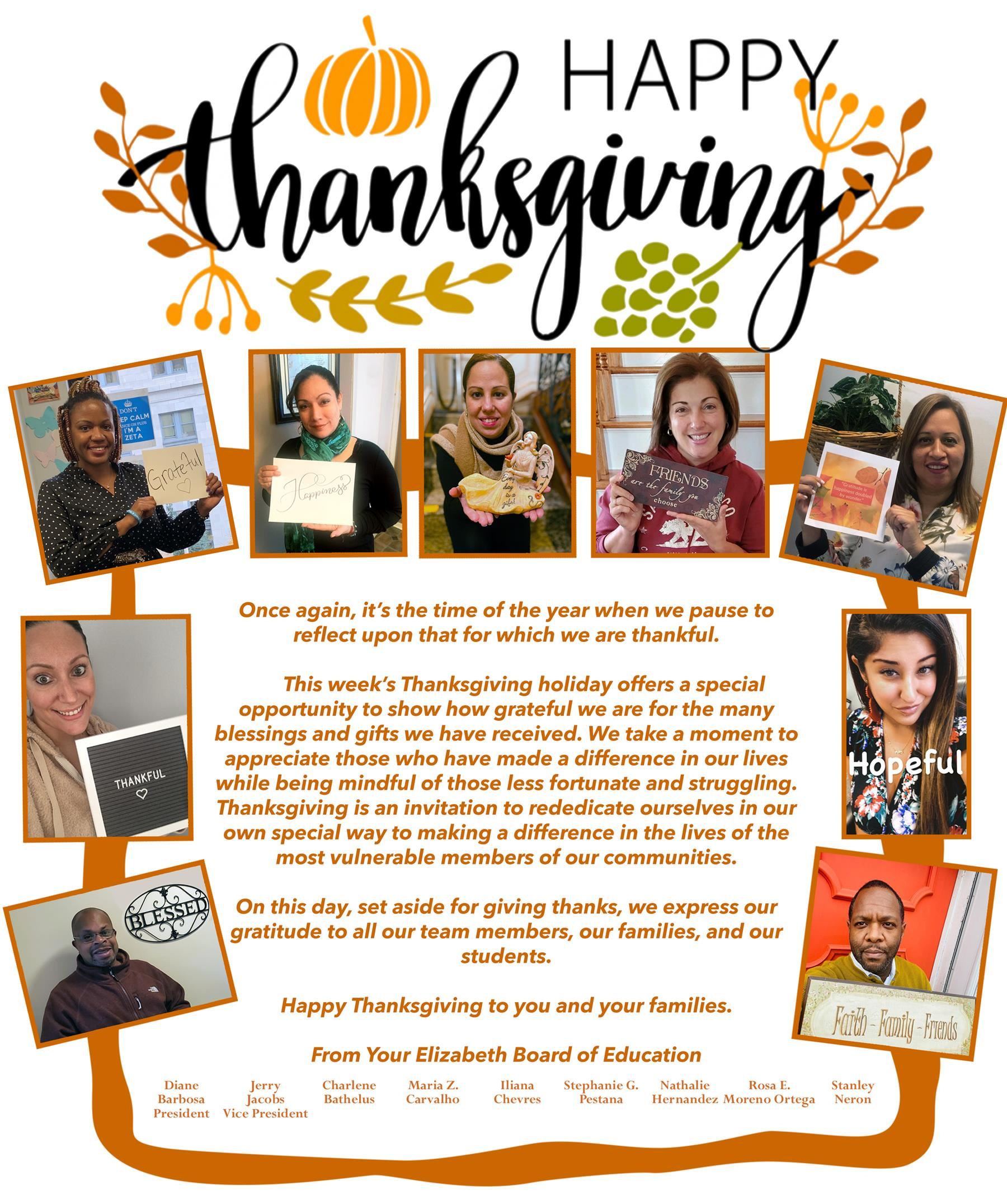 Happy Thanksgiving from Your Elizabeth Board of Education
