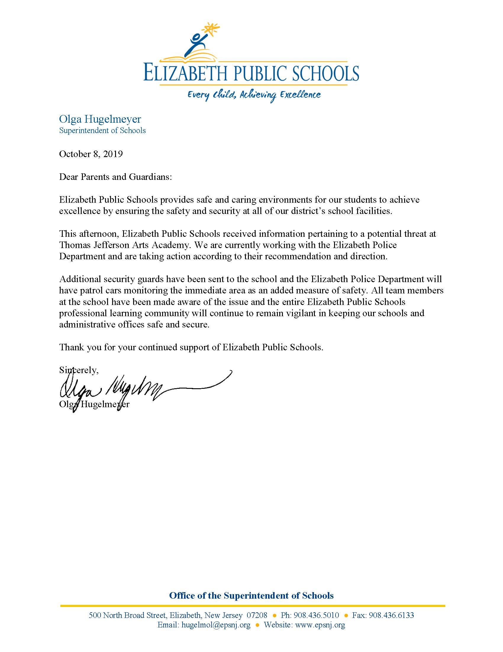 Letter to parents about reported threat at Thomas Jefferson Arts Academy-10-8-19
